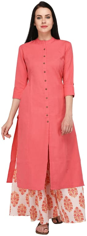 Pistaa Women Pink Stitched Suits Cotton