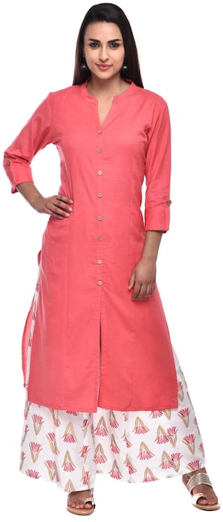 PISTAA Women Peach & White Solid Straight Kurta With Palazzo
