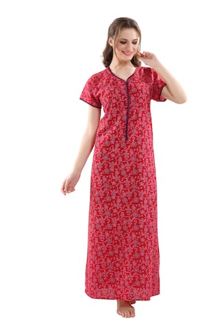 dba26ef777 Buy PIU Cotton Night Gown Printed Nightwear Red - (Pack of 1 ...