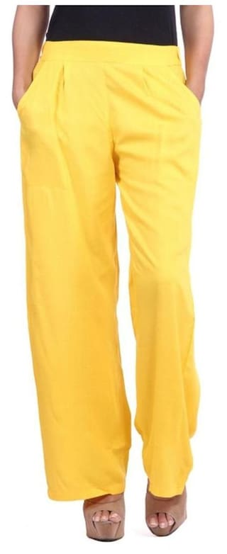 Pixie Formal Rayon Palazzo Pant / Trouser in Combo for Women with 2 Side Pockets with Side Zip Closure (Pack of 1) - Yellow
