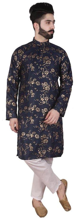 Pk Garment Men Kurta Pajama(Navy Blue;White)