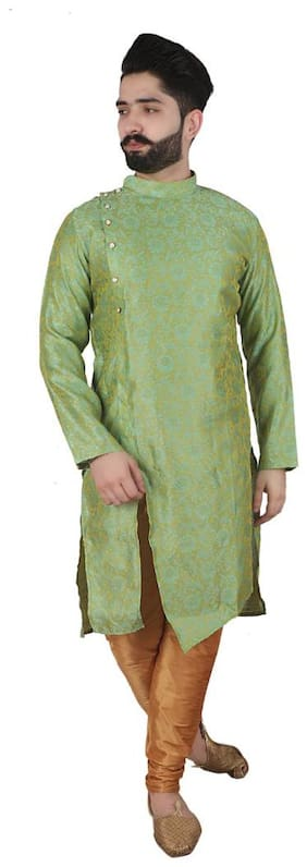 P.K.GARMENTS Green & Beige Floral print Kurta and Churidar