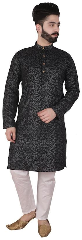 P.K.GARMENTS Black Printed Kurta and Pyjamas