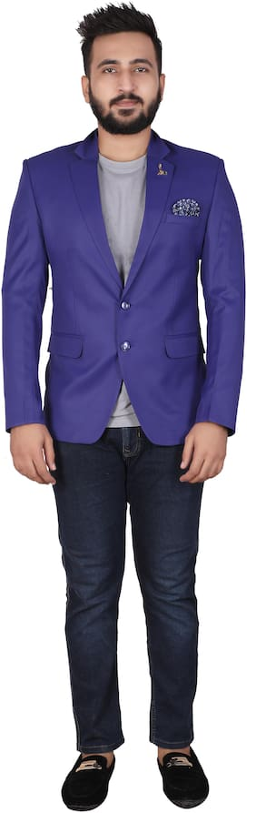 P.K.GARMENTS Men Blue Solid Slim fit Single Breasted Blazer
