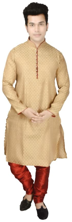 P.K.GARMENTS Beige Printed Kurta and Pyjamas
