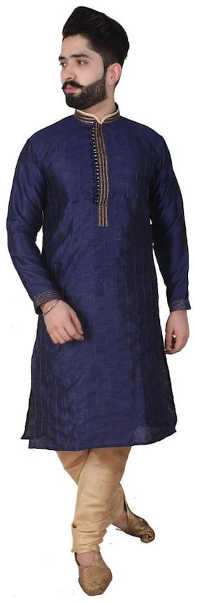 Pk Garments Men Fancy Kurta Pajama (Navy Blue;Beige)