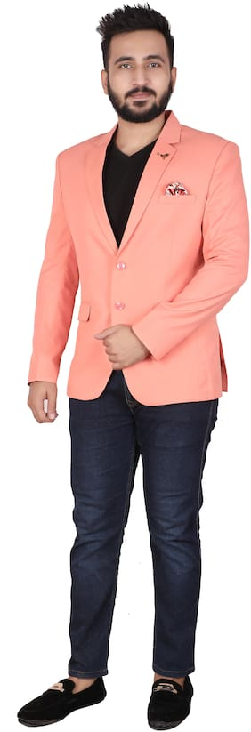 P.K.GARMENTS Men Peach Solid Slim fit Single Breasted Blazer