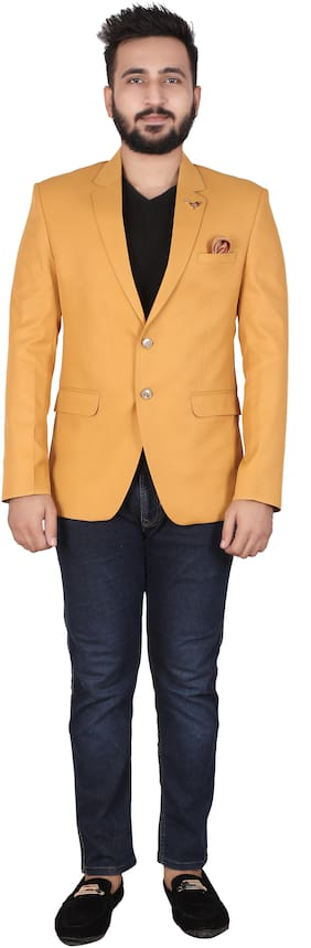 P.K.GARMENTS Men Yellow Solid Slim fit Single Breasted Blazer