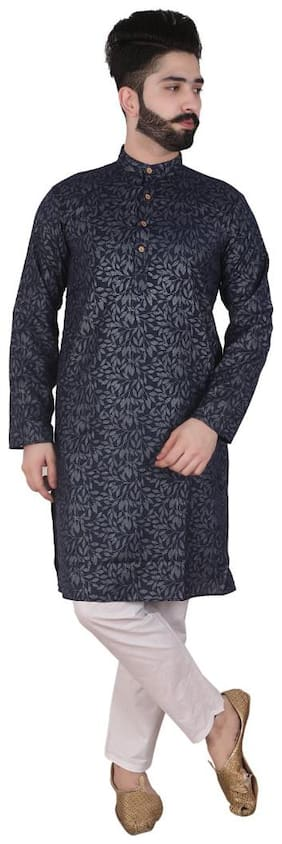 Pk Garments Men Prited Kurta Pyjama - Navy Blue