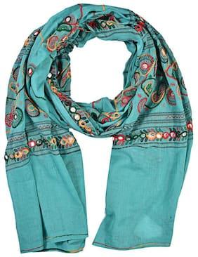 PK Hub Women Cotton Embroidered Dupatta Blue