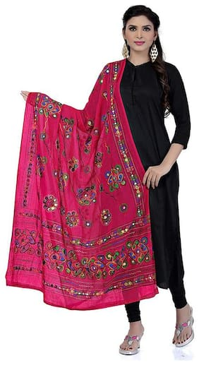 PK Hub Women Cotton Embroidered Dupatta Pink