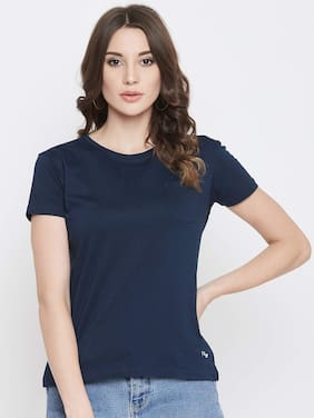 PLAGG Cotton Solid Navy Blue T Shirt For Women