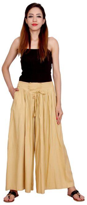 Plain Beige Colour Geather Designe Women's Rayon Palazo