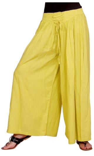 Rayon Geather Plain Yellow Women's Designe Palazo Colour Lemon HS1q6