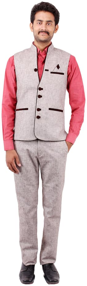 PLATINUM STUDIO Men Blended Slim fit Suit - Grey