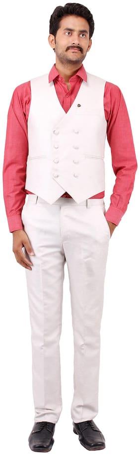 PLATINUM STUDIO Men Blended Slim fit Suit - White
