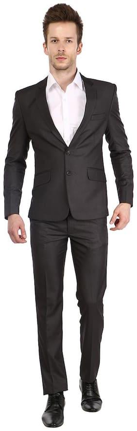 Platinum Studio Slate Gray Solid Single Breasted Suit