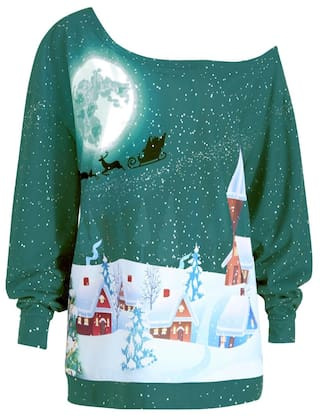 Christmas Printed Skew Plus Size Neck Evening Sweatshirt ROqnfvw16
