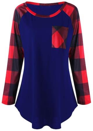 Plus shirt T Pocket Plaid Size Patch Sw68TPqSx