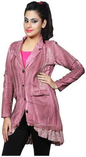 Polita Single Breasted Pink Corduroy Coat For Women