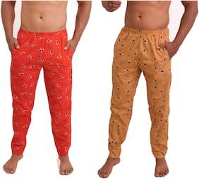 POLLY FASHION Men Cotton Printed Pyjama - Red & Beige