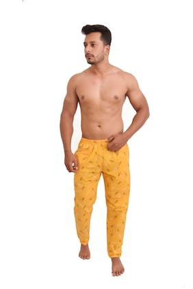 POLLY FASHION Men Cotton Printed Pyjama - Yellow