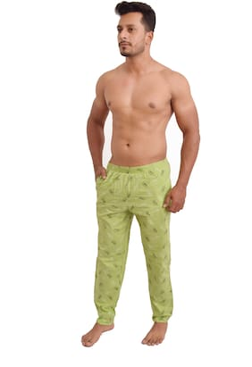 POLLY FASHION Men Cotton Printed Pyjama - Green