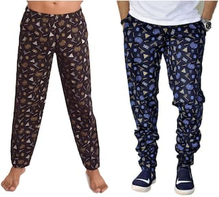 POLLY FASHION Men Cotton Printed Pyjama - Black & Blue