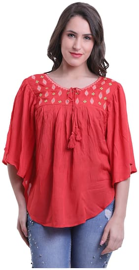 Meer India Garments Rayon Poncho - Red