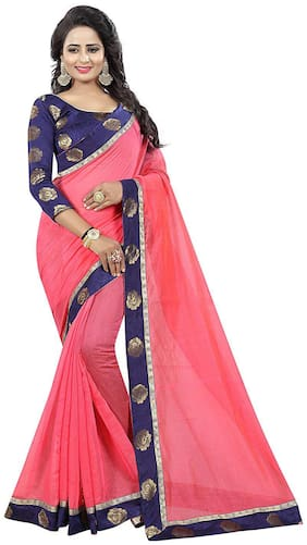 Pooja Creation Ethnic Collection Cotton Silk Saree With Printed Floral Border And Blouse