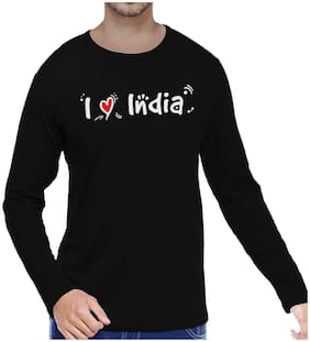 Pooplu I Lv India Cotton Printed Round Neck Full Sleeves Black Tshirt