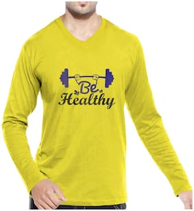 pooplu Men Yellow Regular fit Cotton V neck T-Shirt - Pack Of 1