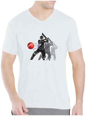 Pooplu Men`s Cricket Shot  Printed V- Neck Half Sleeves White Tshirt