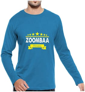 Pooplu Mens Zoombaa Fitness Cotton Printed Round Neck Full Sleeves Blue T shirt. Exercise, Fitness tshirts