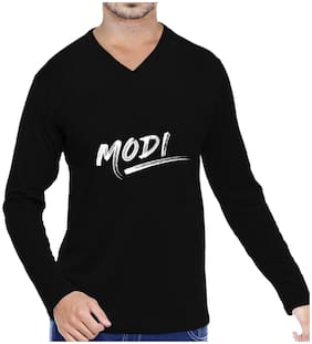 Pooplu Mens Modi  Cotton Printed V Neck Long Sleeves Black T shirt