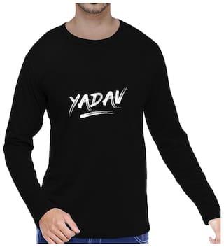 c563849e Buy Pooplu Mens Yadav Cotton Printed Round Neck Long Sleeves Black T ...