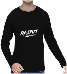 Pooplu Mens Rajput  Cotton Printed Round Neck Long Sleeves Black T shirt