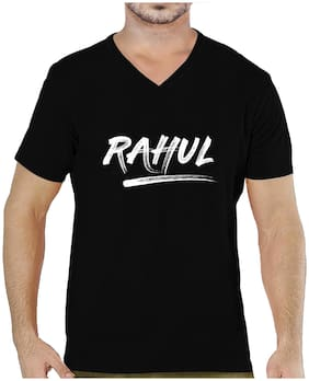 Pooplu Mens Rahul Cotton Printed V Neck Half Sleeves Black T shirt