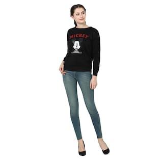 POPMODE Women Solid Sweatshirt - Black