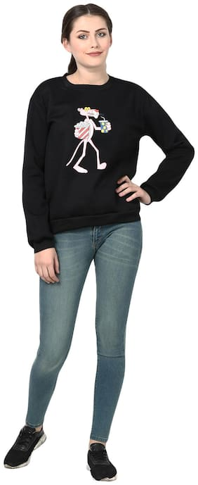 POPMODE Women Solid Sweatshirt - Black