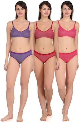 Popocracy Set of 3 Non Padded Cotton Bralette Bra - Multi