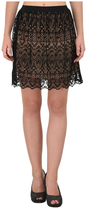PORSORTE Women's Black Lacy Skirt