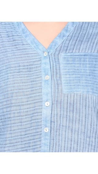 Shirt Cotton Washed Blue Women's PORSORTE Pigment Dobby WqSZ7YxFw