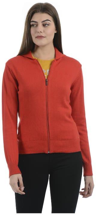 Portobello Women Solid Cardigan - Red