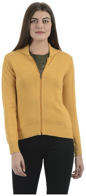 Portobello Women Solid Cardigan - Yellow