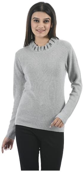 Portobello Women Striped Sweater - Grey