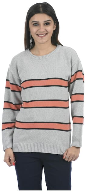 Portobello Women Striped Pullover - Grey