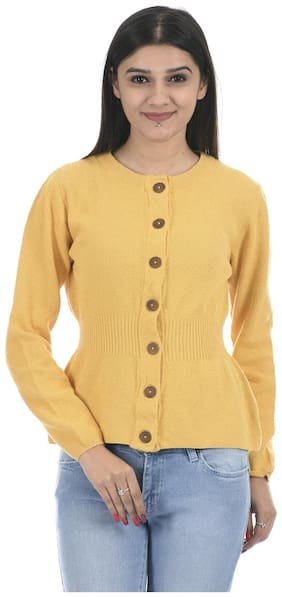 Portobello Women Self Design Cardigan - Yellow