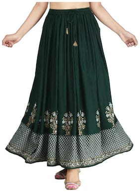 PoshArt Attractive Printed Green Rayon Skirt