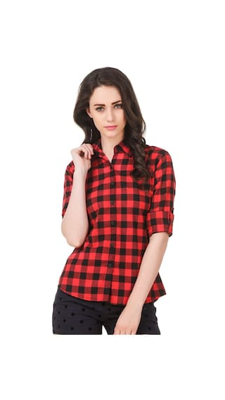 Pour Femme Women's Checkered Casual Button Down Red & Black Shirt